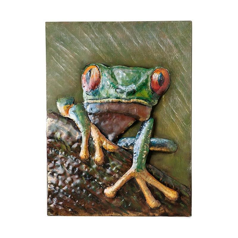 GILDE Metall Bild Watchful Frog 60x80x5 cm