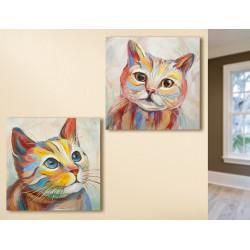 Gilde Gemälde Katzen 2 Stück 60x60 cm