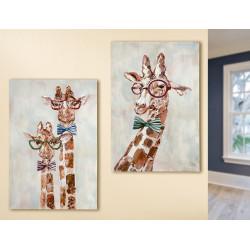 Gilde Gemälde Giraffen mit Brille und Fliege