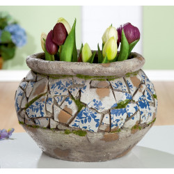 Gilde Pflanztopf Mosaik blau