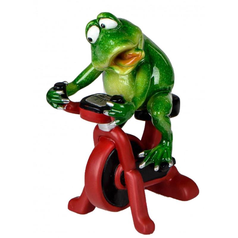 Dekofigur lustiger Frosch auf einem Trainingsrad 18x5x10 cm