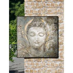 Gilde Gemälde Metall Buddhakopf gelasert
