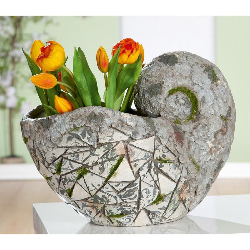 Gilde Pflanzschnecke Mosaik grau