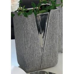 GILDE Moderne V-Vase aus Keramik, silber, 22x15x11 cm
