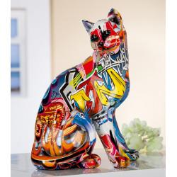 Gilde Katze Pop Art sitzend mehrfarbig