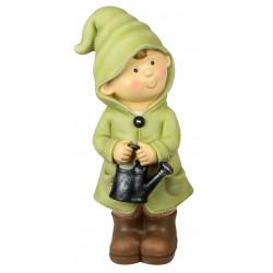 dekojohnson Deko-Figur Kind Junge stehend mit Gießkanne grün Herbstdeko Frühjahrsdeko für Innen und Außen 30cm groß
