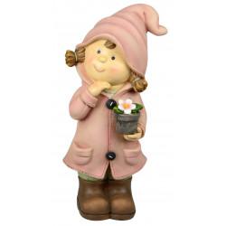 dekojohnson Deko-Figur Kind Mädchen stehend mit Blumentopf rosa Herbstdeko Frühjahrsdeko für Innen und Außen 30cm groß