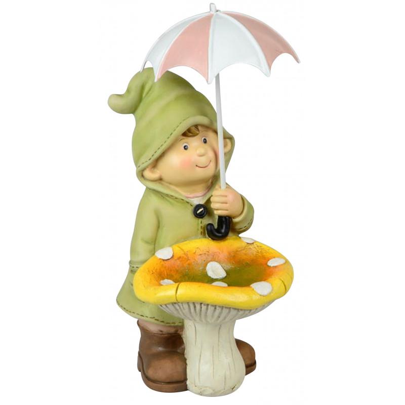 dekojohnson Deko-Figur Kind Junge Regenschirm und Pilz grün Herbstdeko Frühjahrsdeko für Innen und Außen 23cm groß
