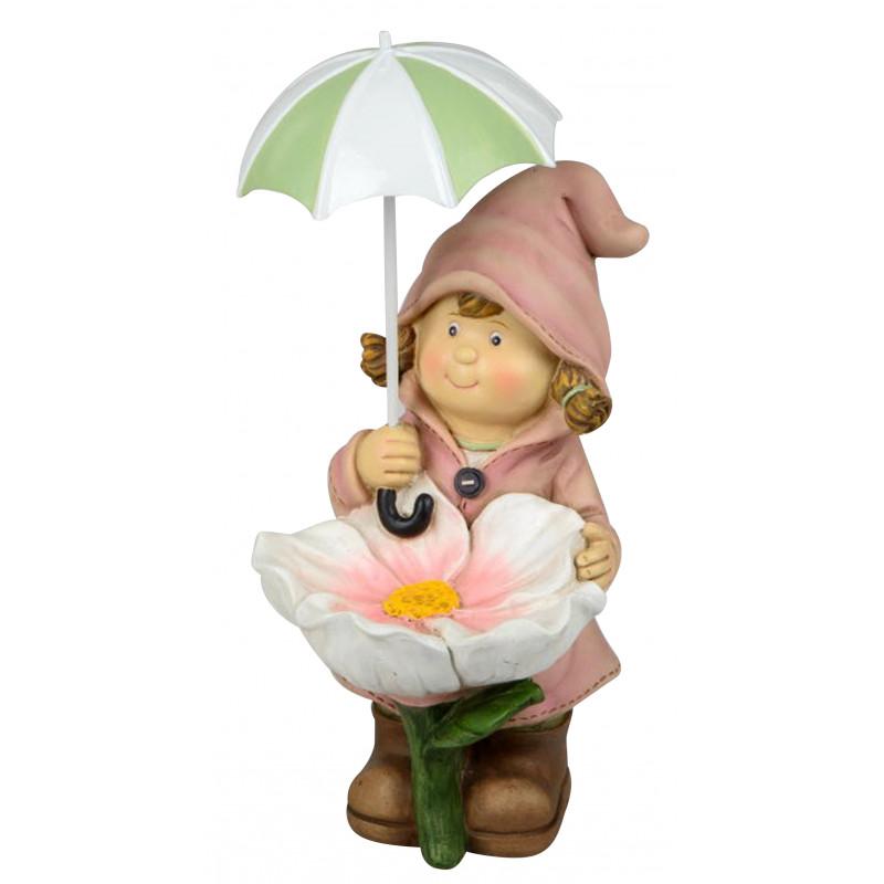 dekojohnson Deko-Figur Kind Mädchen stehend Regenschirm Blume rosa Herbstdeko Frühjahrsdeko für Innen und Außen 23cm groß