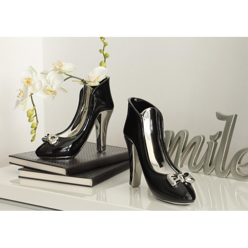 Gilde Vase High Heel Milano schwarz