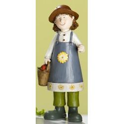GILDE Gartenfigur Sophia mit Korb, bemalt, 9x8x21 cm