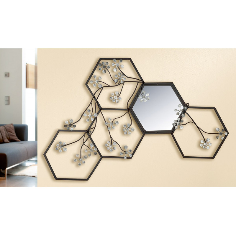 GILDE Wandrelief Mirror-Blossom 80x55 cm