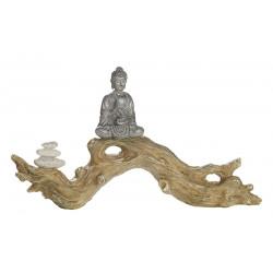 Gilde Figur Buddha auf Baumstamm