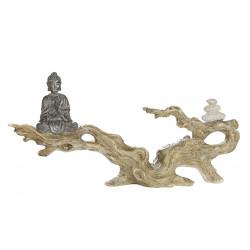 Gilde Figur Buddha auf Baumstamm sitzend