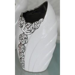 GILDE Dekovase weiß mit silberner Blumenmusterung, 9x15x27 cm