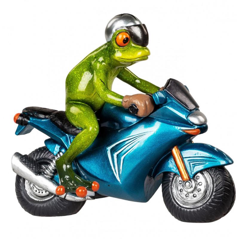 lustiger Frosch auf dem Motorrad Deko Frosch Figur Biker Zierfigur Tierfigur trendig witzig