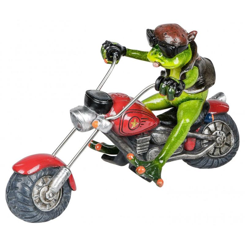 Deko Frosch auf dem Motorrad Biker Figur rot