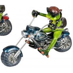 Lustiger Deko Frosch auf dem Motorrad Biker Figur blau