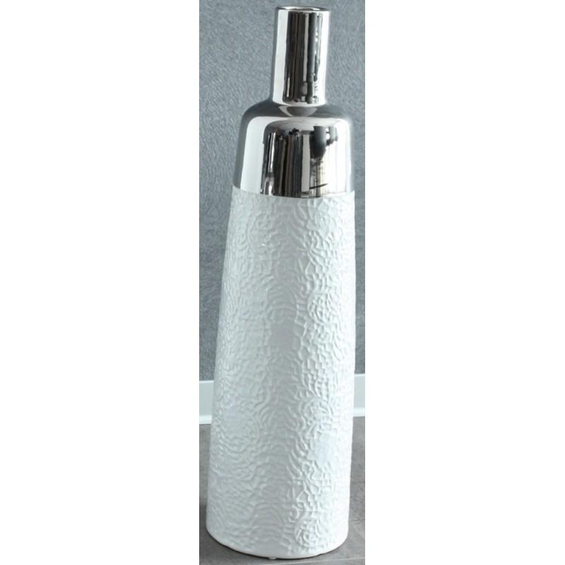 GILDE Flaschenvase weiß silber Musterung 17x17x61 cm