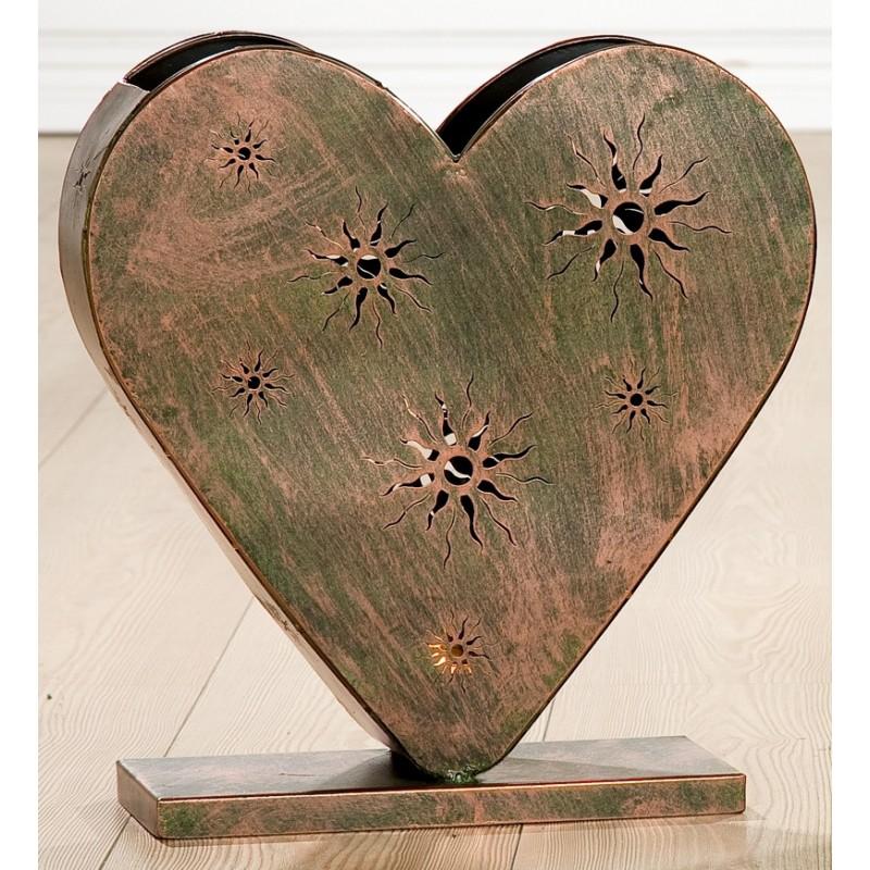 GILDE Metall Herz Windlicht Sunshine Kupfer 44x13 cm
