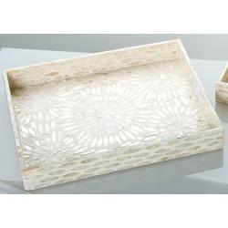 GILDE Tablett MDF Muscheldekor natur gold 35x45x5 cm