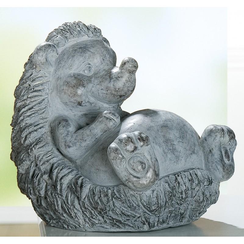 GILDE Dekofigur Igel Felix aus Magnesi, antik-grau, liegend,26x35x33 cm