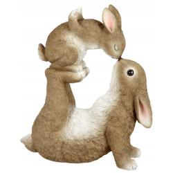 Formano Dekofigur Hase mit Kind naturfarben 30x35 cm