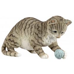 dekojohnson Deko Katzenfigur spielende Katze grau