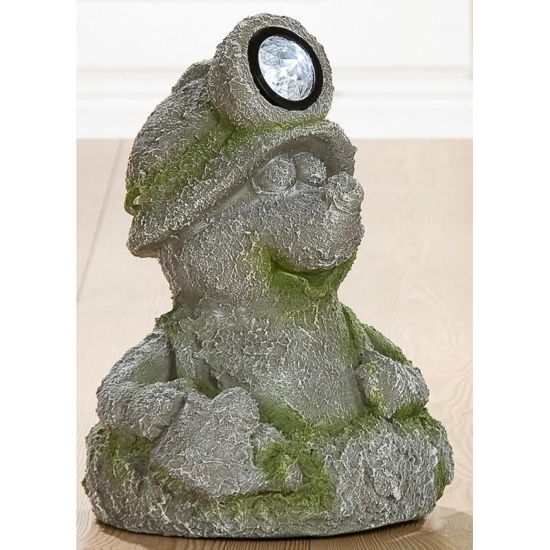 GILDE Dekofigur Maulwurf LED Magnesi grau grün Steinoptik