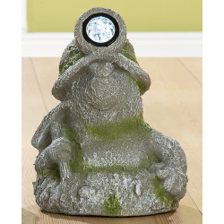 GILDE Dekofigur Maulwurf  mit LED aus Magnesi, grau/grün Steinoptik, 22x24x33 cm