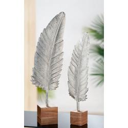 Gilde Aluminium Feder auf Holz Sockel 65cm