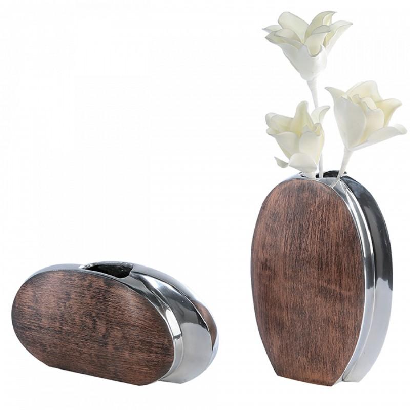 Casablanca Vase Twin Aluminium poliert Bronze gewischt