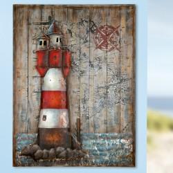 GILDE Gemälde Leuchtturm auf Holz