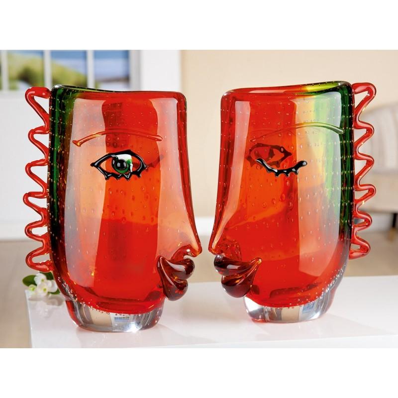 Gilde GlasArt Designvase Gesicht Visuale