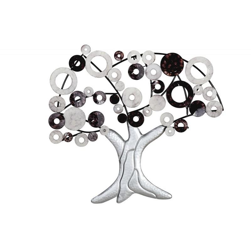 GILDE Metall Wandrelief Lebensbaum schwarz silber