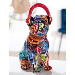 Gilde Mops Pop Art sitzend Kopfhörer