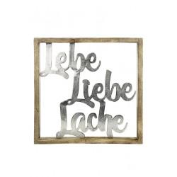 Gilde Rahmen XXL Lebe Liebe Lache Mangoholz & Aluminium