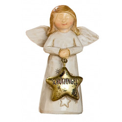 GILDE Dekofigur Weihnachtsengel Schutzengel braun beige gold 3,5x6x8,5 cm