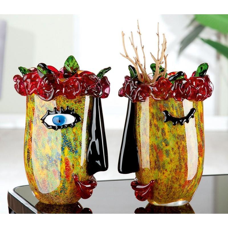Gilde GlasArt Design Vase Flora