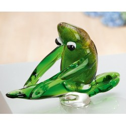Gilde GlasArt Skulptur Yoga-Frosch dehnend