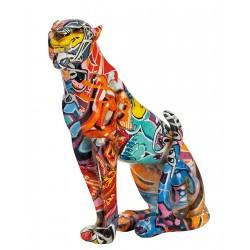 Gilde Gepard Street Art sitzend Graffiti Design mehrfarbig