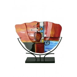 Gilde GlasArt Vase New Life rot blau silber