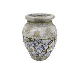 Gilde Vase Mosaik blau