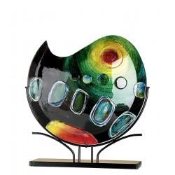 Gilde Glasart Vase auf Metall Ständer Sunrise