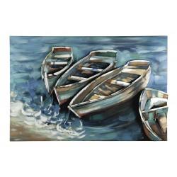 GILDE Metall Bild Boote am Ufer 3D