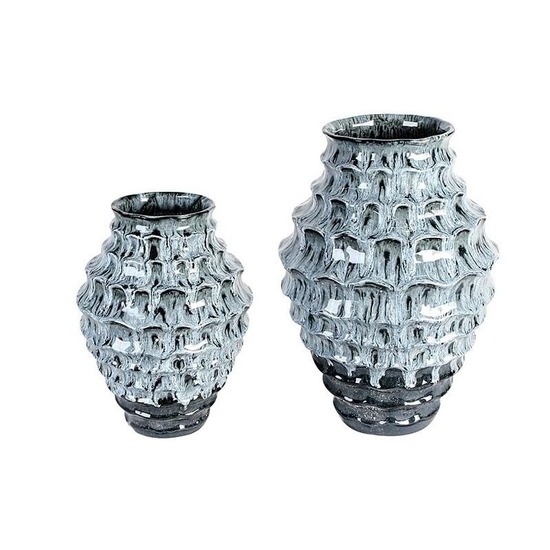 Casablanca Keramik Vase Casual blau weiß Marmoroptik