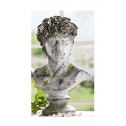 GILDE Dekofigur David im Used Look auf Moossockel, grau grün, 34 cm