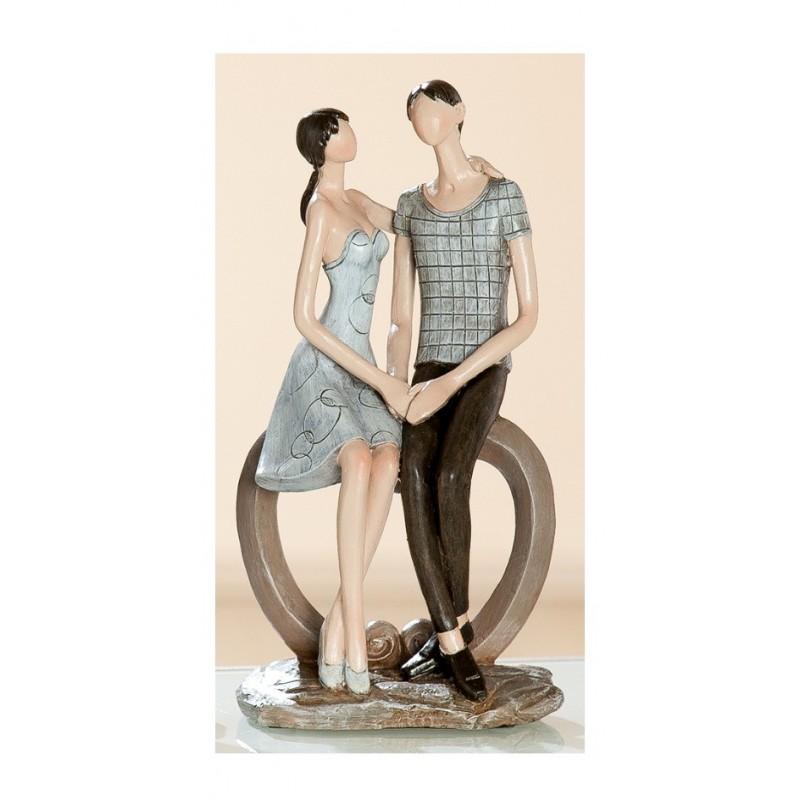 Skulptur Paar Liebespärchen Herzbogen, beige braun , 18x12x24 cm