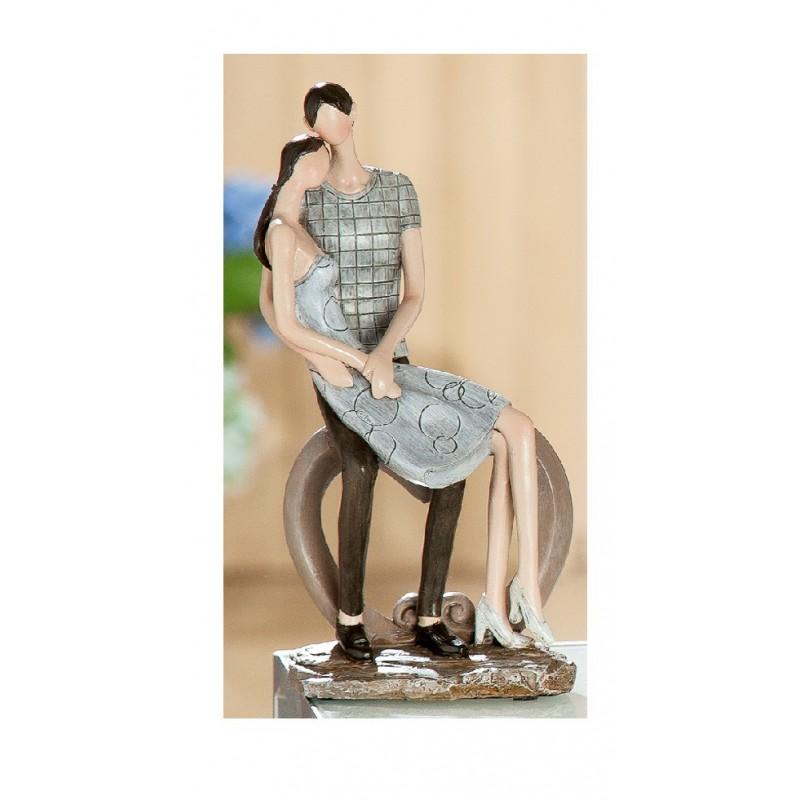 Skulptur Paar Liebespärchen Herzbogen, braun beige, 18x12x24 cm