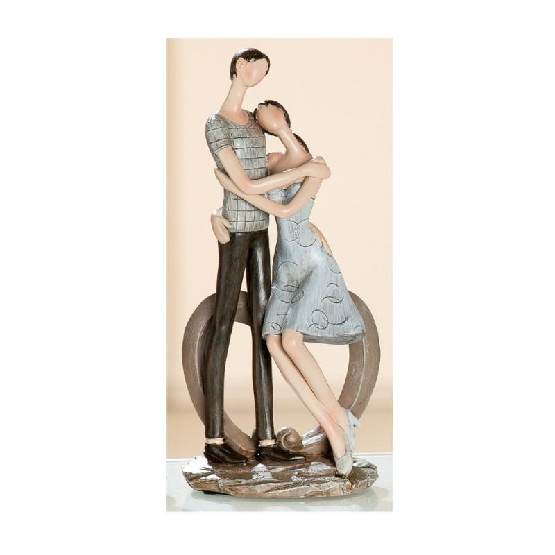 Skulptur Paar Herzbogen Liebespärchen braun beige, 18x12x24 cm